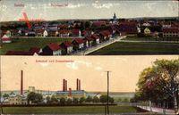 Salder Salzgitter in Niedersachsen, Totalansicht, Bahnhof und Zementwerke
