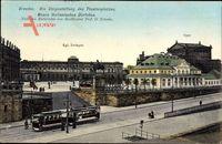 Dresden, Umgestaltung des Theaterplatzes ,Straßenbahn, Neues Italienisches Dörfchen um 1914