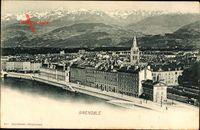 Grenoble Isère, Vogelschau auf den Ort, Gebäude am Wasser
