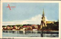 Rimouski Quebec Kanada, Blick vom Wasser zum Ort, Kirche