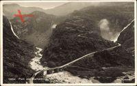 Norwegen, Partie ved Stalheim, Fliegeraufnahme, Fluss, Wasserfälle, Brücke