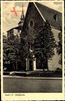 Varel am Jadebusen, Straßenpartie mit Blick auf die Schlosskirche