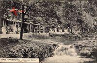 Bad Harzburg in Niedersachsen, Unter den Eichen, Flusspartie, Geschäfte