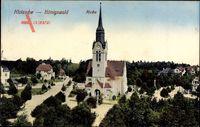 Dresden Nord Klotzsche Königswald, Blick auf die Kirche, Straßenpartie